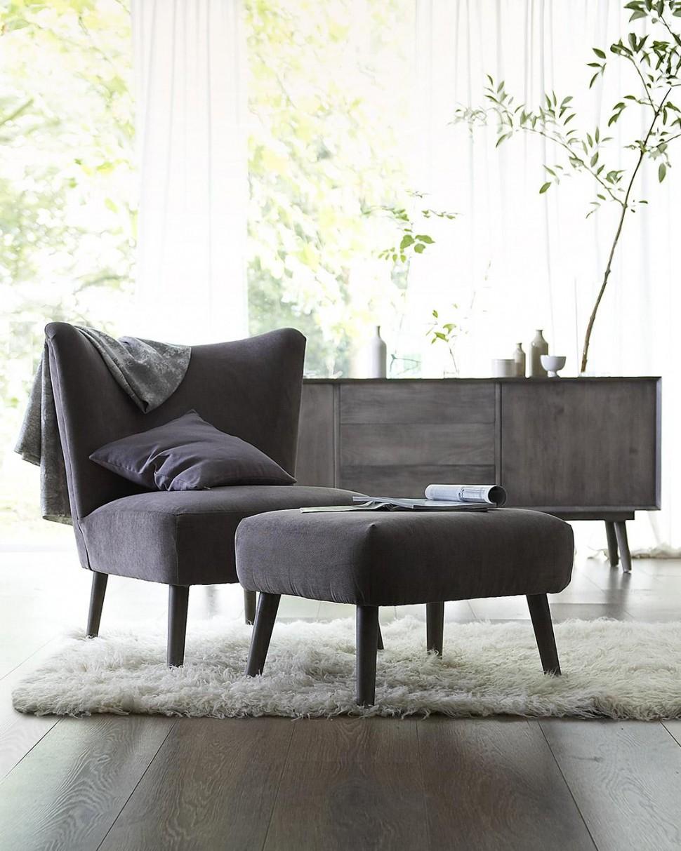 Chaise, ottoman, rétro, pieds en bois de hêtre, couleur au choix